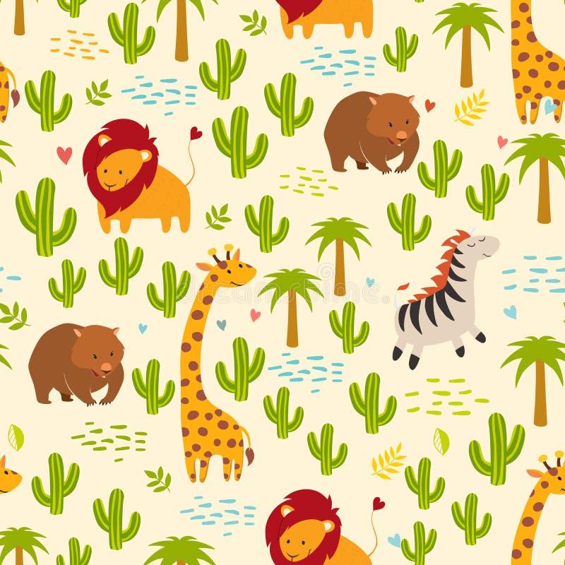 Sömlös vektorbakgrund för djur Giraff, sebra, vombat och kaktus vektor illustrationer