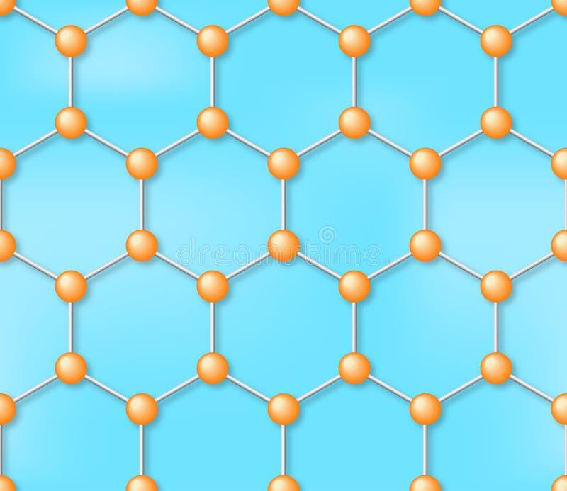 Sömlös vektorbakgrund för molekyl, modell vektor illustrationer