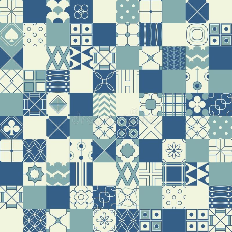 Sömlös vektorbakgrund i patchworkstil med geometriskt klappar stock illustrationer