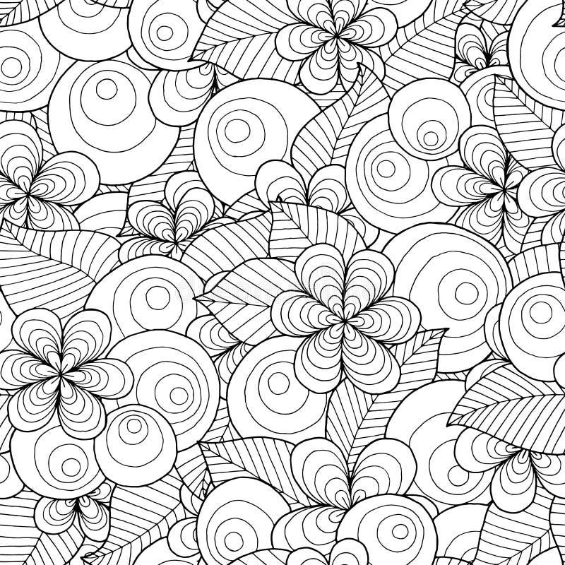 Sömlös vektorbakgrund med blom- beståndsdelar och cirklar royaltyfri illustrationer