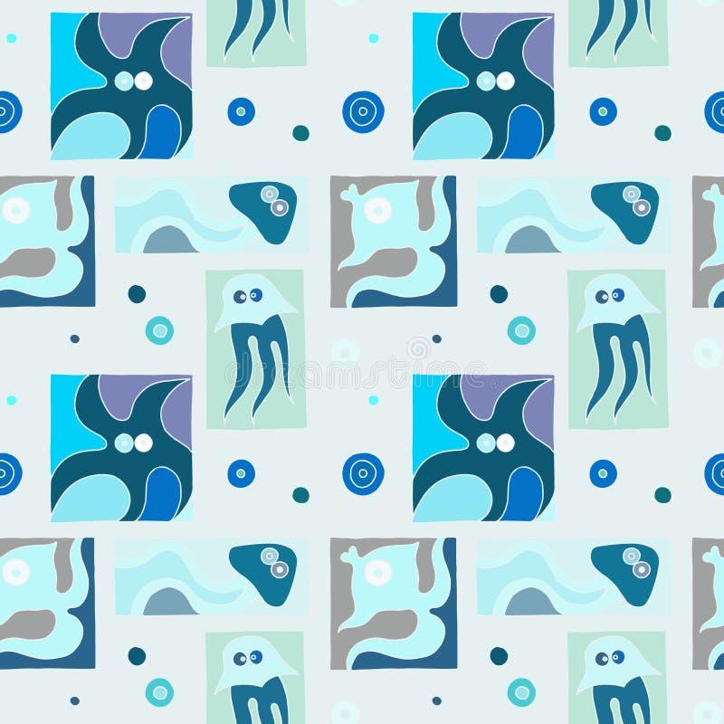 Sömlös vektorbakgrund med den utdragna dekorativa lik ett barn fisken för hand, manet, bläckfisk, sjöstjärna Grafisk illustration vektor illustrationer