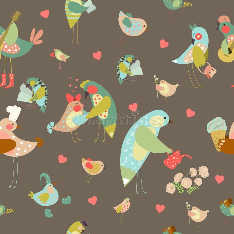 Sömlös vektorbakgrund med färgrika fåglar stock illustrationer