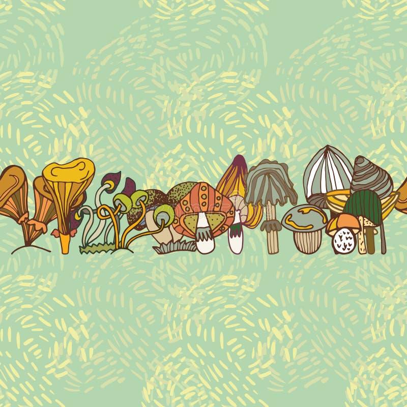 Sömlös vektorgräns av olika champinjoner stock illustrationer