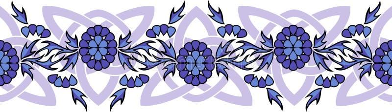 Sömlös vektorgräns med blommor och keltiska fnuren royaltyfri illustrationer