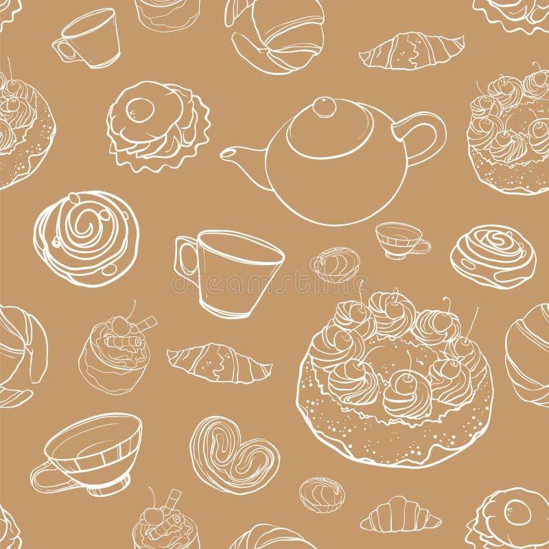 Sömlös vektorkonturmodell med bakning, bakelser, kakor, te vektor illustrationer
