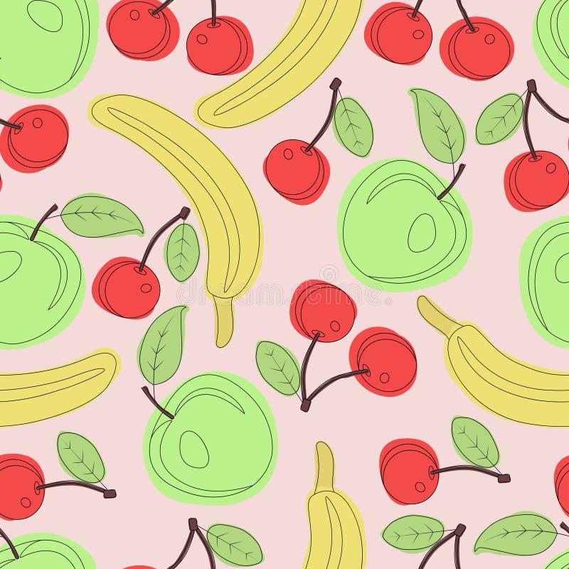 Sömlös vektormodell av äpplen, bananer och körsbär på rosa bakgrund royaltyfri illustrationer