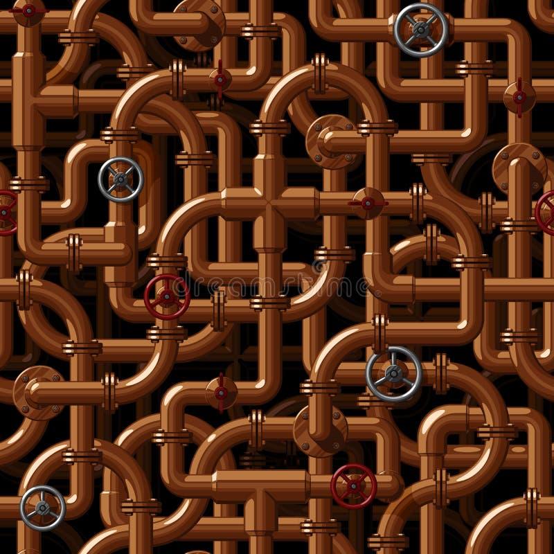 Sömlös vektormodell av att fläta samman kopparvattenrör med ventiler stock illustrationer