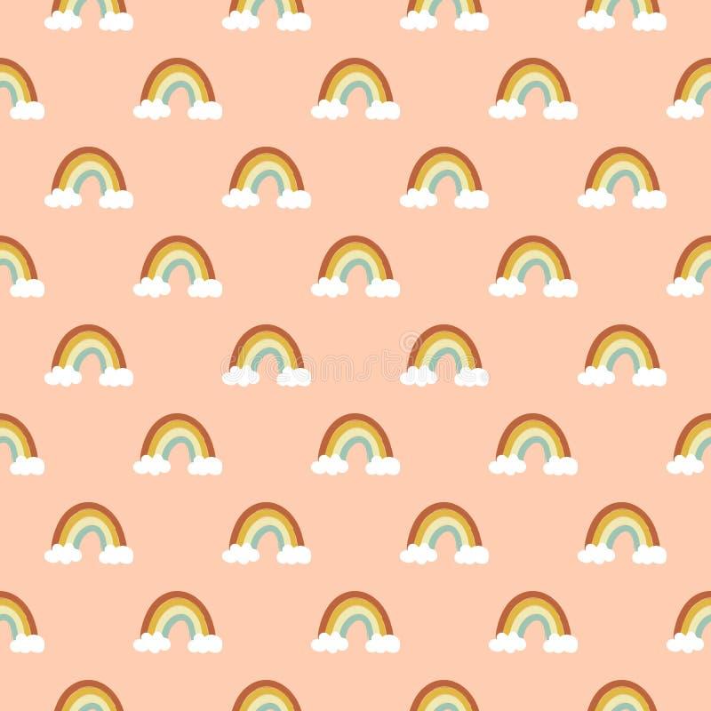 Sömlös vektormodell av den utdragna klotterregnbågen för hand av varma moln för palett för pastellfärgad färg för höst vita på pe royaltyfri illustrationer