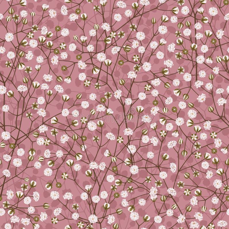 Sömlös vektormodell av den vita lilla blommagypsophilaen på en rosa bakgrund stock illustrationer