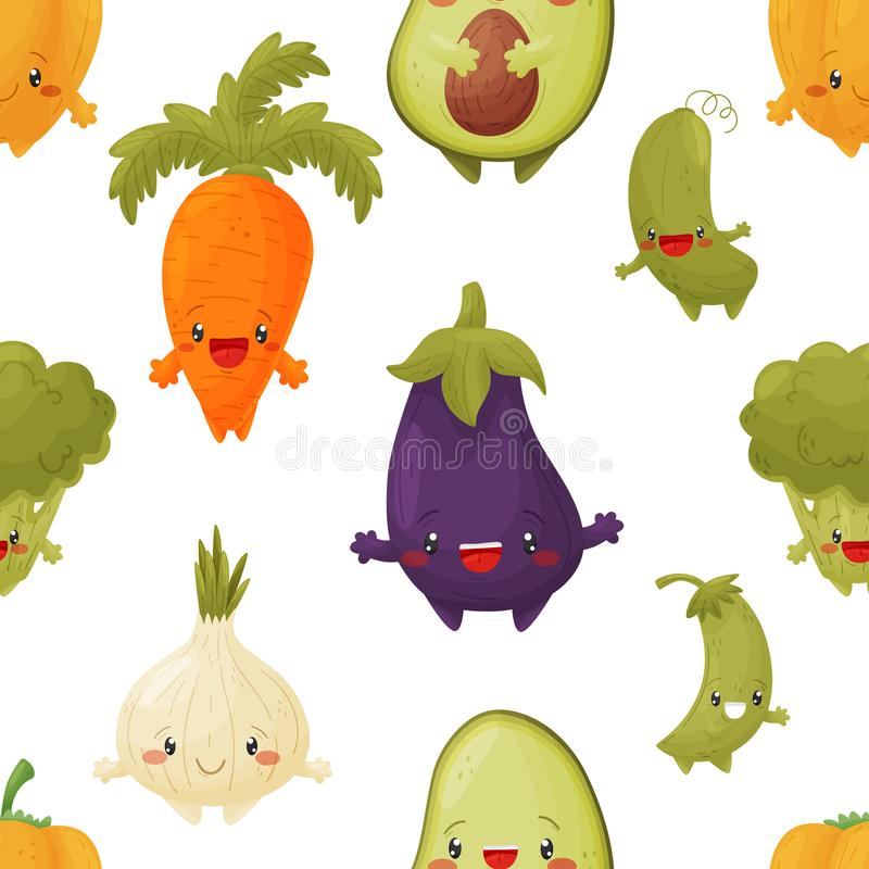 Sömlös vektormodell av gulliga kulöra grönsaker royaltyfri illustrationer