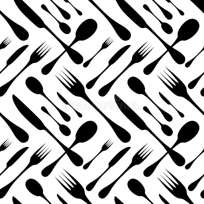 Sömlös vektormodell för bestick Bestickhandverktyg - svarta konturer för sked, för kniv och för gaffel på vit vektor illustrationer