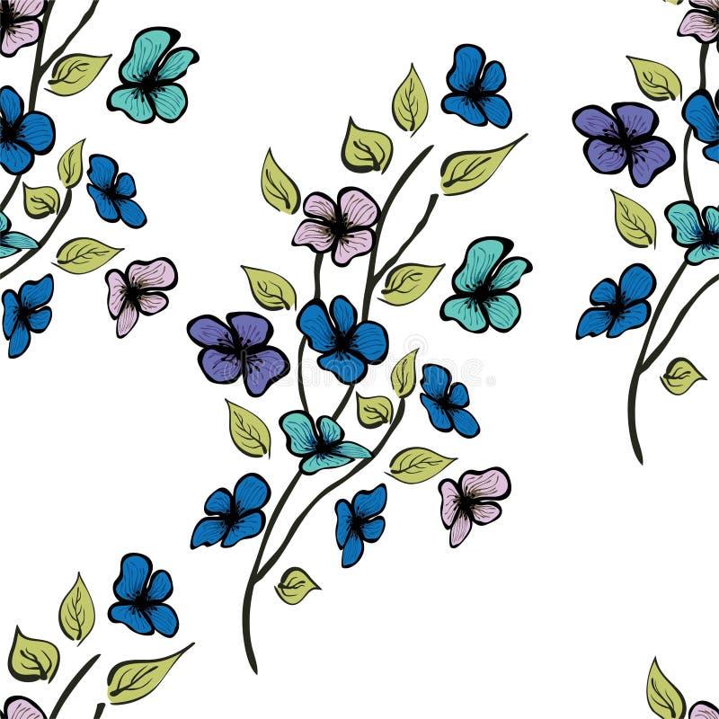 Sömlös vektormodell för blomma Ändlös textur för textil vektor illustrationer