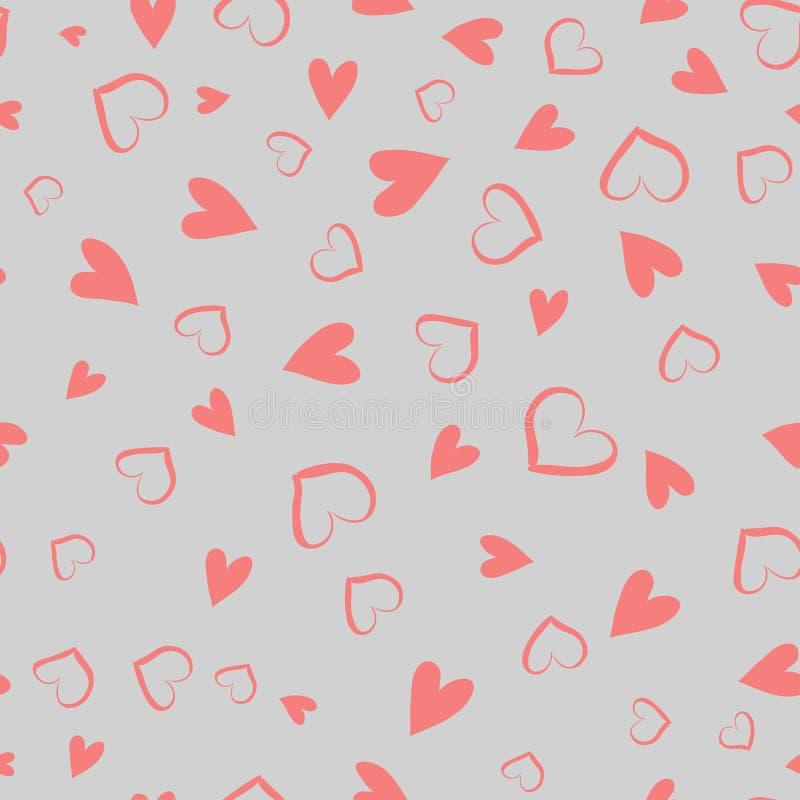 Sömlös vektormodell för enkla hjärtor Hjärta för två rosa färg Ändlös kaotisk textur för plan design som göras av mycket liten hj royaltyfri illustrationer