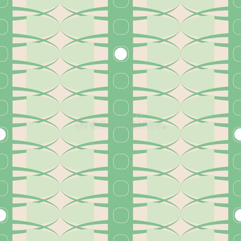 Sömlös vektormodell för geometrisk vektor med band, ovals och cirklar i grön färg för kall mintkaramell stock illustrationer