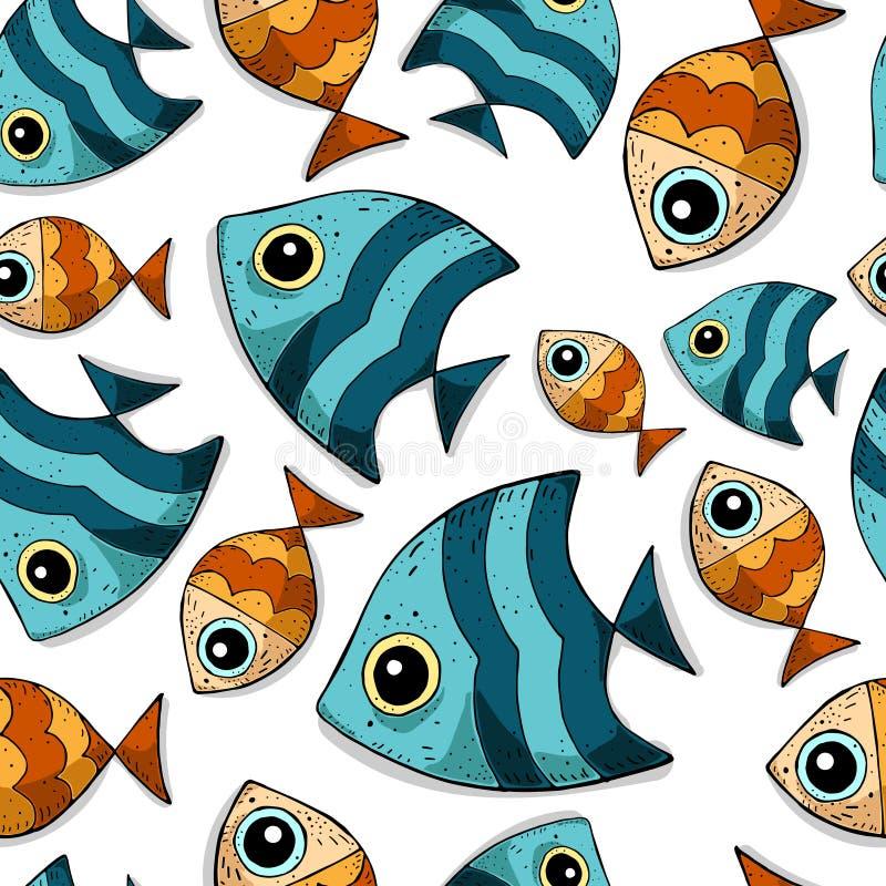 Sömlös vektormodell för gullig tecknad film med kulöra havsfiskar stock illustrationer
