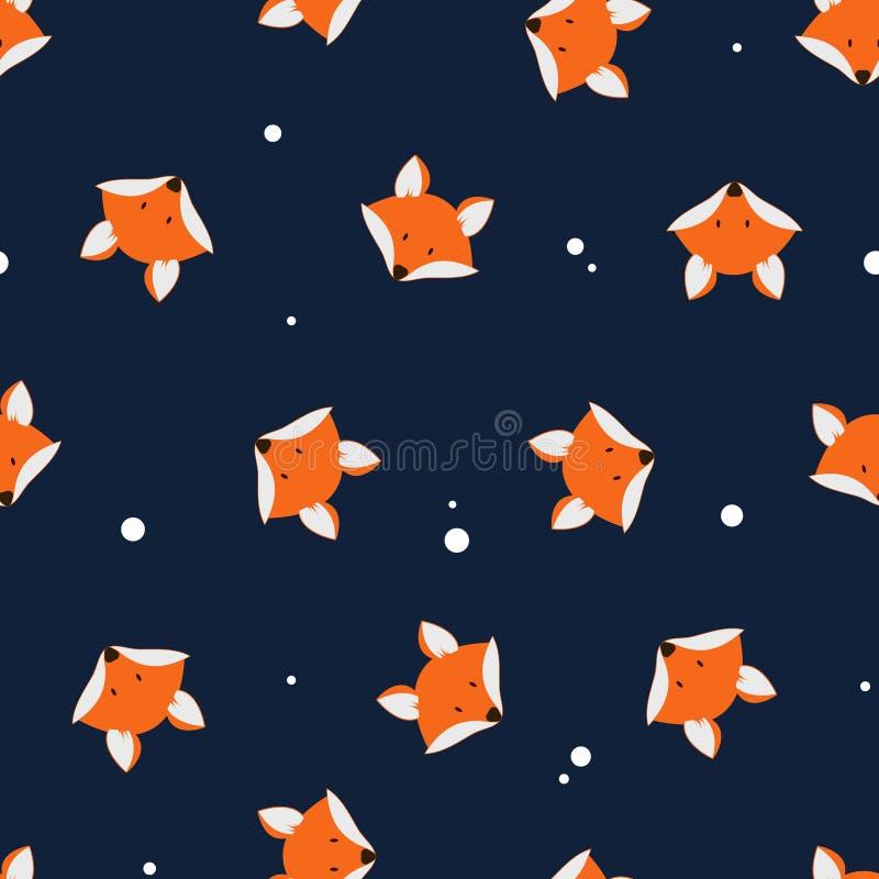 Sömlös vektormodell för gulliga rävar För tecknad filmräv för vektor gullig söm royaltyfri illustrationer