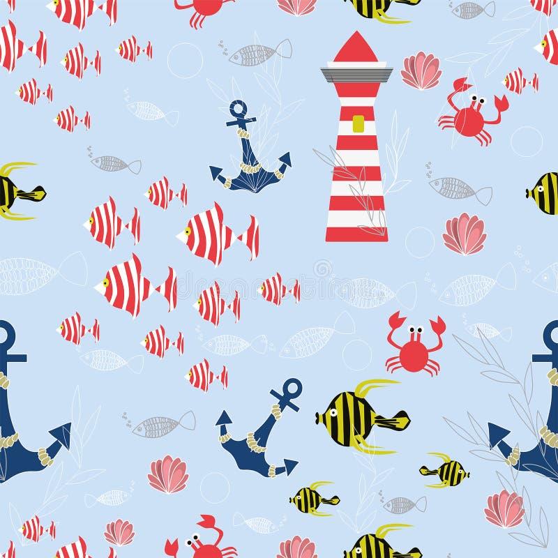 Sömlös vektormodell för hav med randiga fiskar, ankaren, skal, krabbor, fyr, havsväxter på den blåa bakgrunden royaltyfri illustrationer