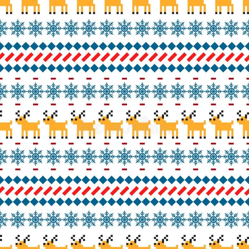 Sömlös vektormodell för nordisk tröja med hjortar stock illustrationer