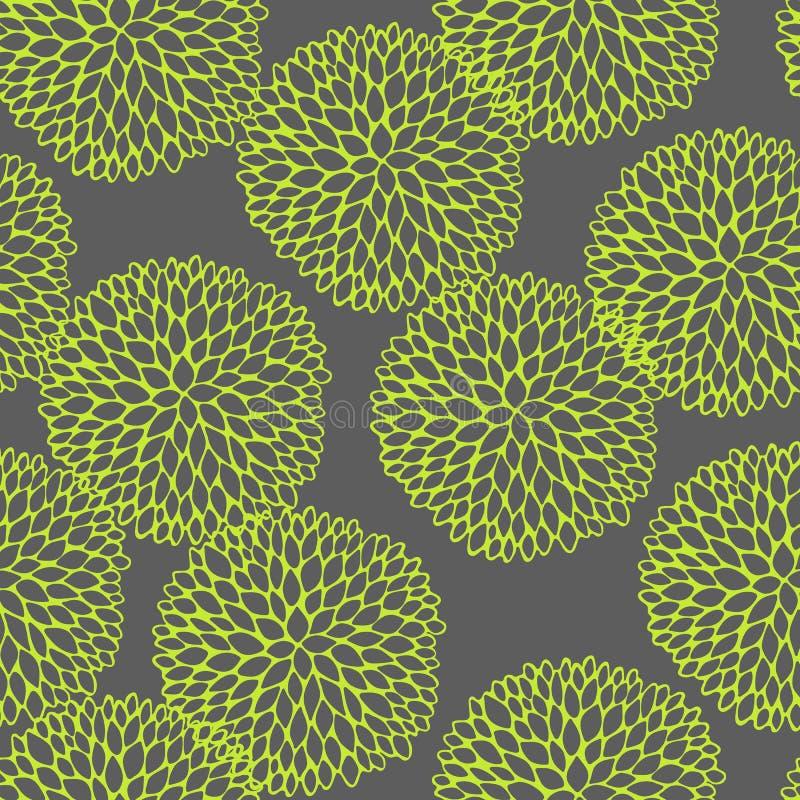 Sömlös vektormodell för vektor med att klottra runda blommor vektor illustrationer