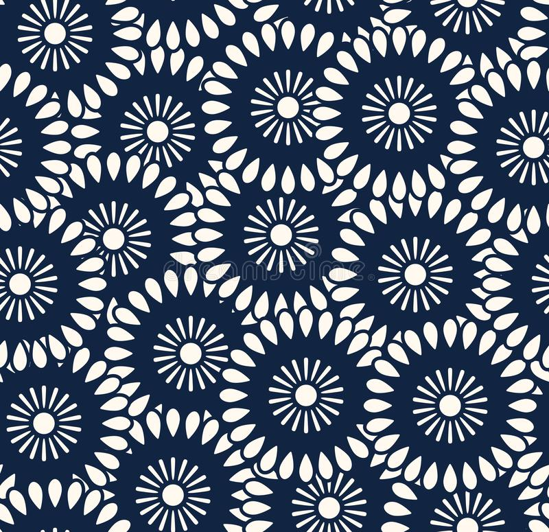 Sömlös vektormodell i Bali batikstil vektor illustrationer