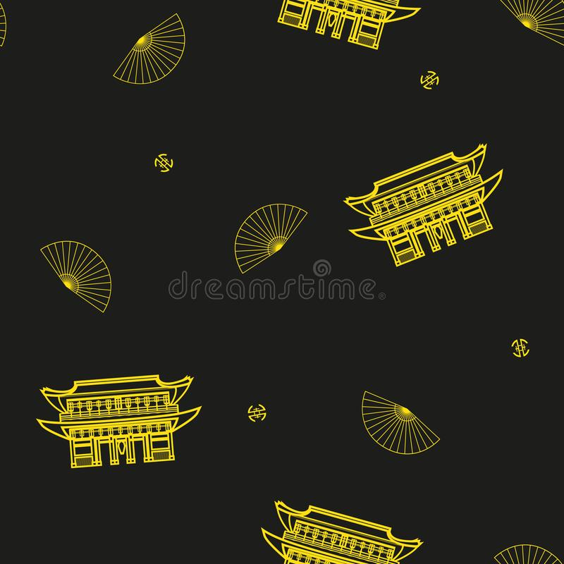 Sömlös vektormodell med asiatiska fans och traditionella byggnader royaltyfri illustrationer