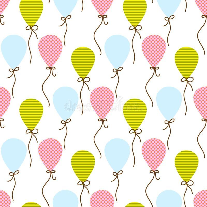 Sömlös vektormodell med ballonger vektor illustrationer