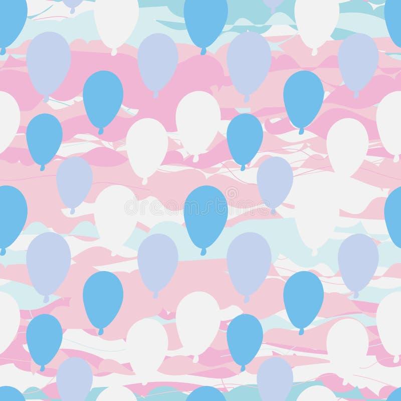 Sömlös vektormodell med baloons på rosa himmel vektor illustrationer