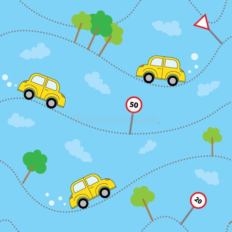 Sömlös vektormodell med bilar och trafiktecknet vektor illustrationer