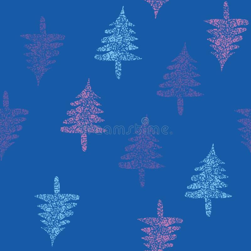 Sömlös vektormodell med blå purlple och rosa former för julträd royaltyfri illustrationer