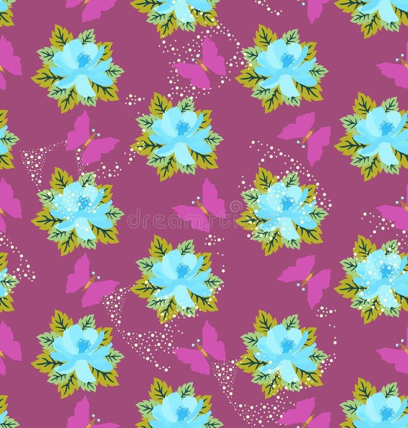 Sömlös vektormodell med blåa blommor, gröna sidor och rosa fjärilar på purpurfärgad bakgrund Härlig sommardesign stock illustrationer