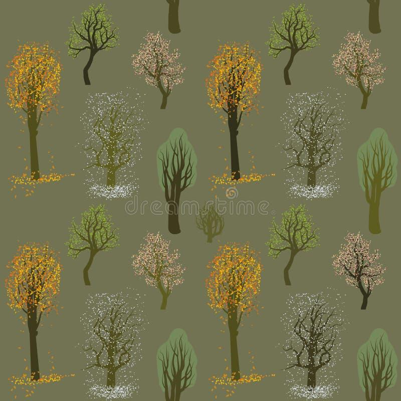 Sömlös vektormodell med blommor under olika vädersäsonger vektor illustrationer