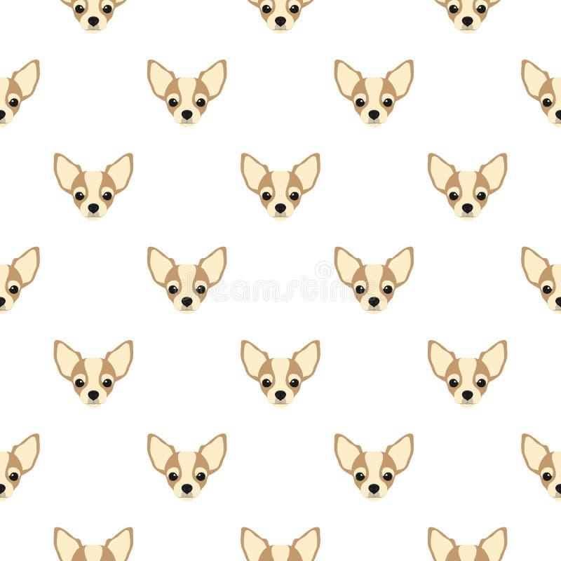 Sömlös vektormodell med chihuahuaen Repea för symbol för lägenhet för hundhuvud stock illustrationer
