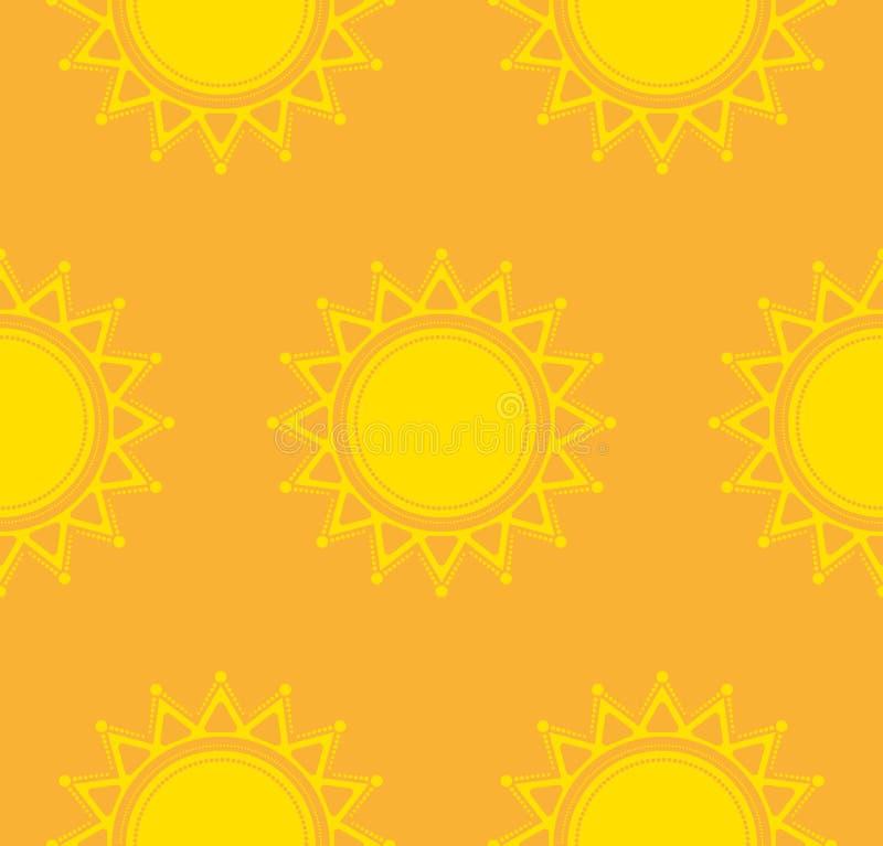 Sömlös vektormodell med den dekorativa solen royaltyfri illustrationer