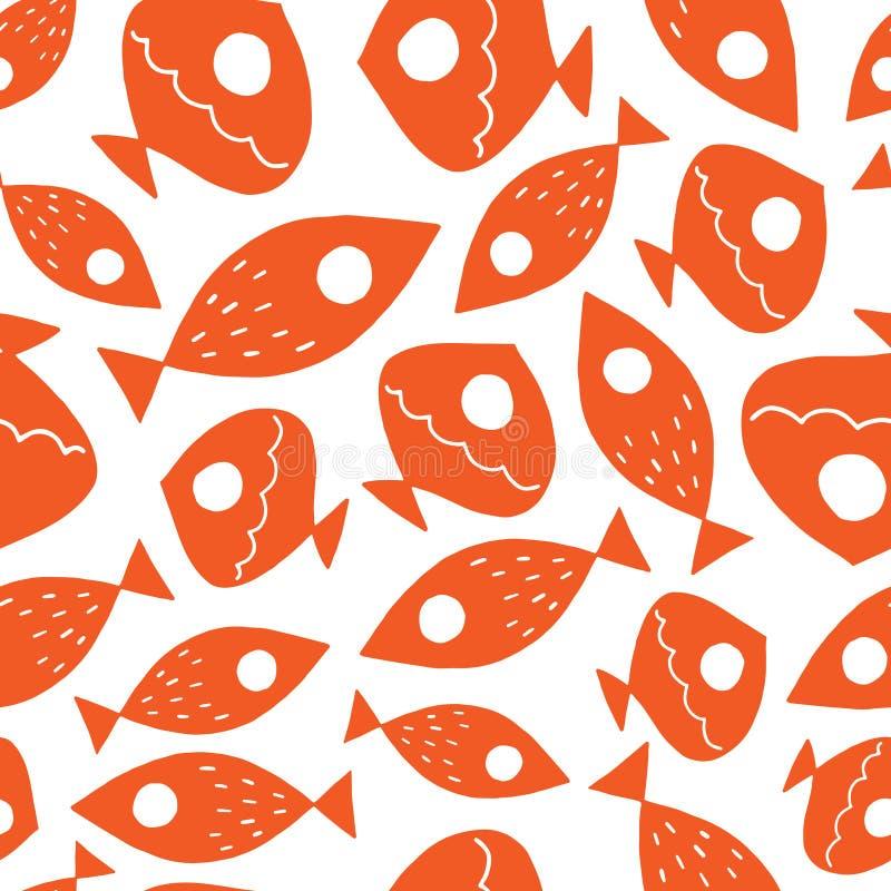 Sömlös vektormodell med den gulliga fisken stock illustrationer
