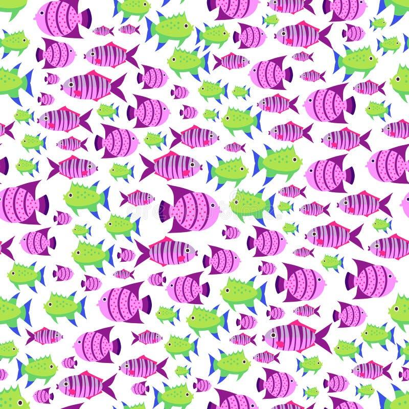 Sömlös vektormodell med den gulliga tecknad filmfisken i rosa färger och gräsplan royaltyfri illustrationer