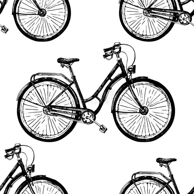 Sömlös vektormodell med den hand drog cykeln Skissa gamla cyklar för färgpulverillustrationen på vit bakgrund, tappning stock illustrationer