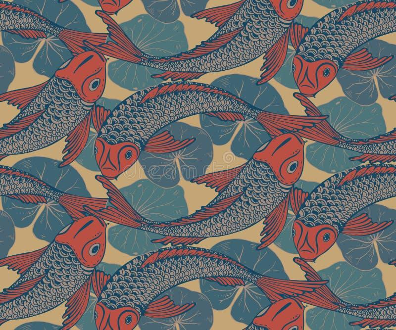 Sömlös vektormodell med den hand drog Koi fisken vektor illustrationer