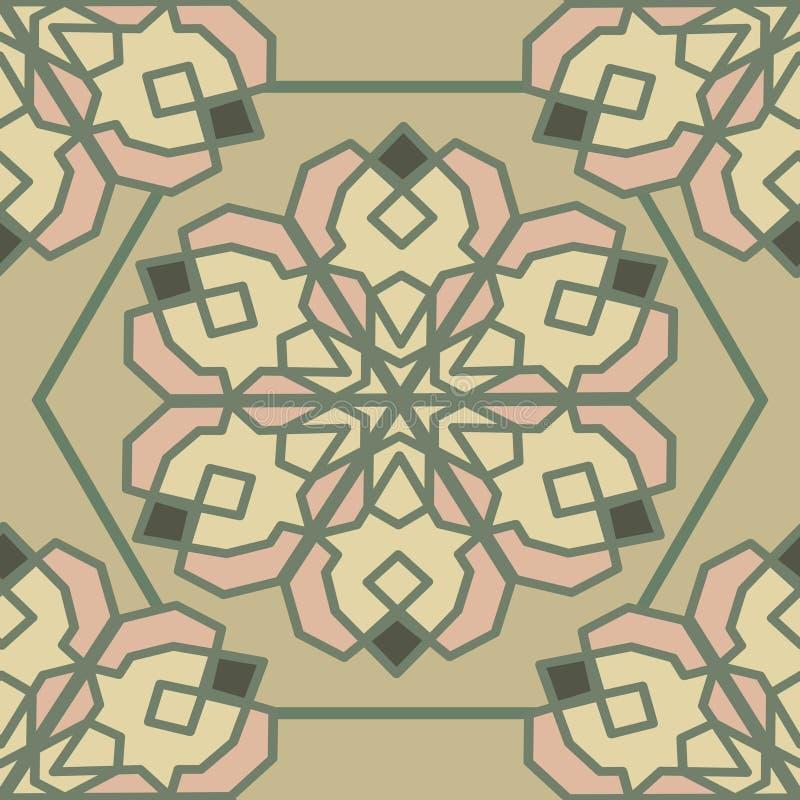 Sömlös vektormodell med den orientaliska geometriska prydnaden royaltyfri illustrationer