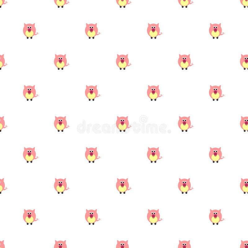 Sömlös vektormodell med djur Gullig bakgrund med rosa svin på den vita bakgrunden vektor illustrationer