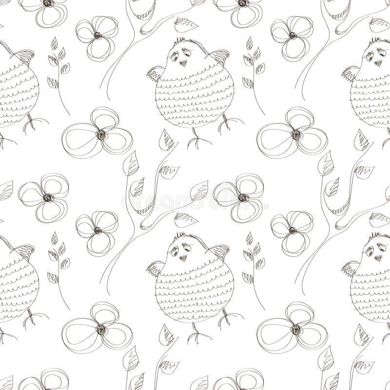Sömlös vektormodell med djur Gullig hand dragen bakgrund med fåglar och blommor på den vita bakgrunden stock illustrationer