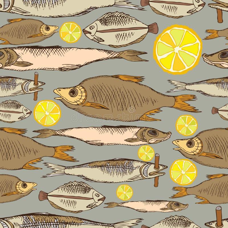 Sömlös vektormodell med djur under vatten Kulör fisk på en neutral bakgrund Den färgrika handteckningen skissar in stock illustrationer