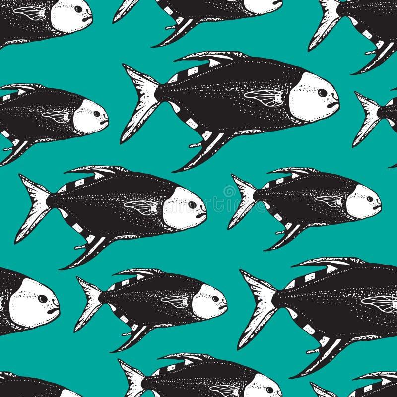 Sömlös vektormodell med djur under vatten Utdragen havs- eller havfisk för hand på blå bakgrund vektor illustrationer