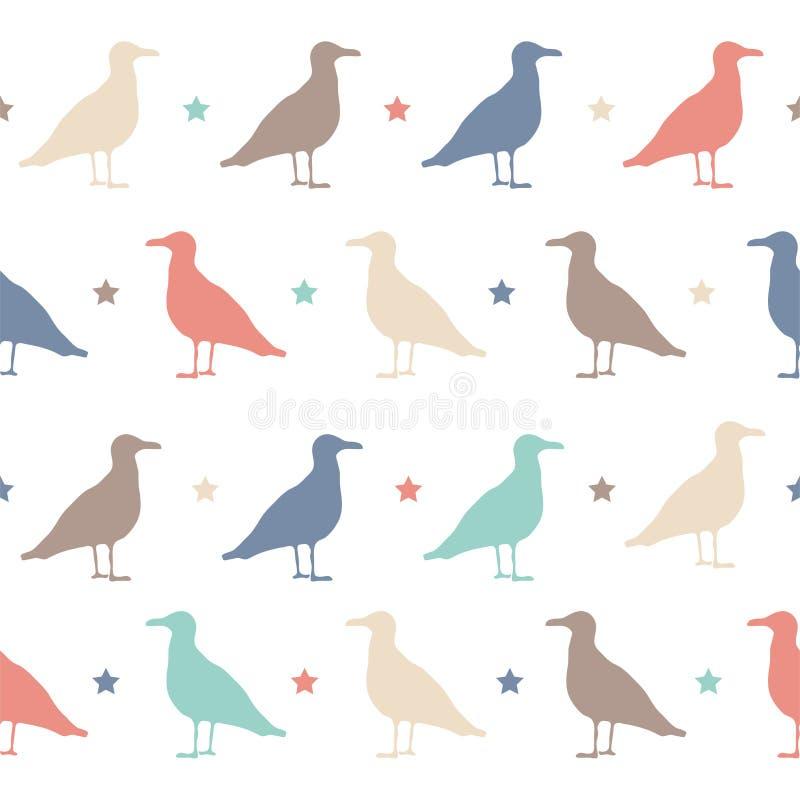 Sömlös vektormodell med färgrika fåglar och stjärnor Lyckligt allhelgonaaftonparti stock illustrationer