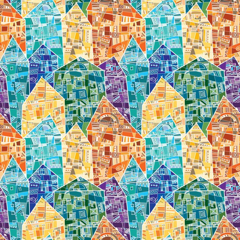 Sömlös vektormodell med färgrika hus som dekoreras som en mosaik med många geometriska detaljer stock illustrationer