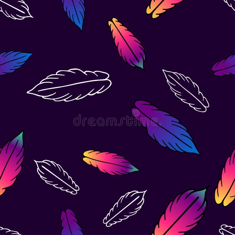 Sömlös vektormodell med färgrika stiliserade fjädrar stock illustrationer