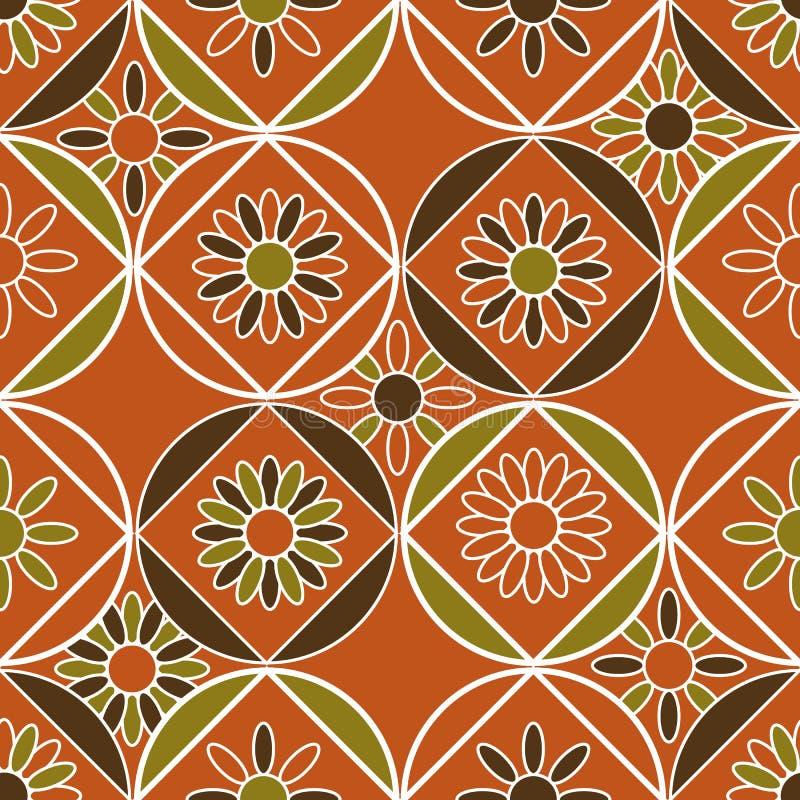 Sömlös vektormodell med geometriska tegelplattor som dekoreras med blom- motiv stock illustrationer