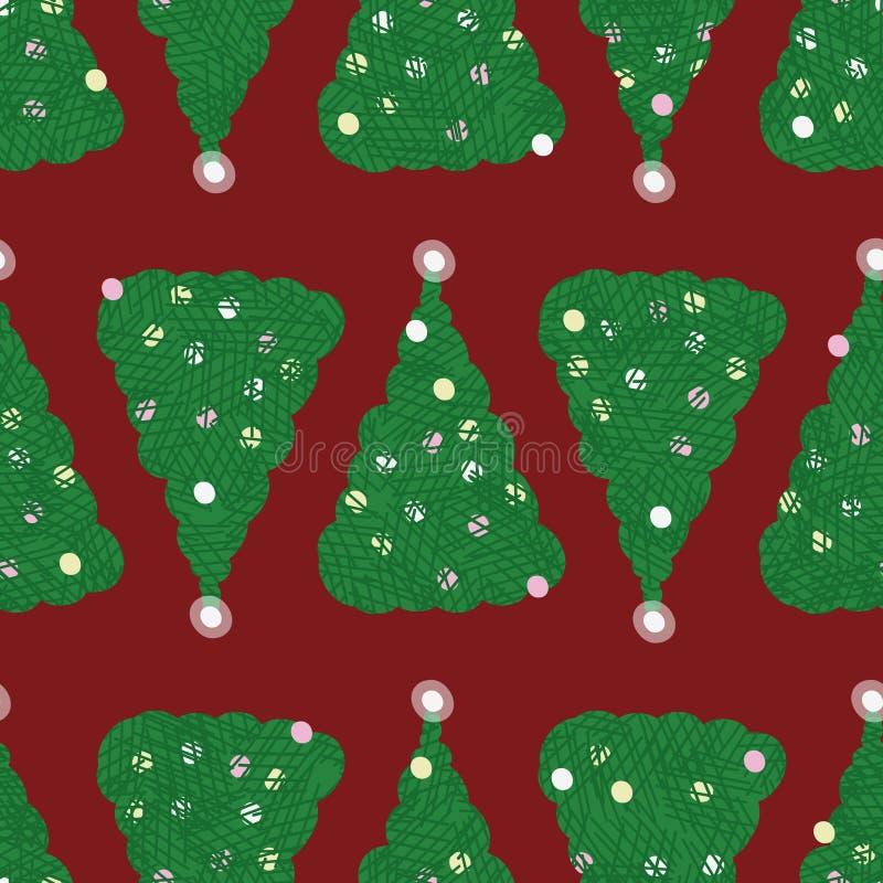 Sömlös vektormodell med gröna julträd på röd bakgrund vektor illustrationer
