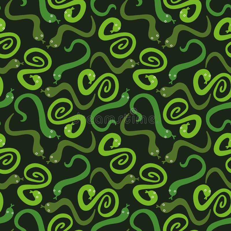 Sömlös vektormodell med gröna ormar spridda på mörk bakgrund stock illustrationer