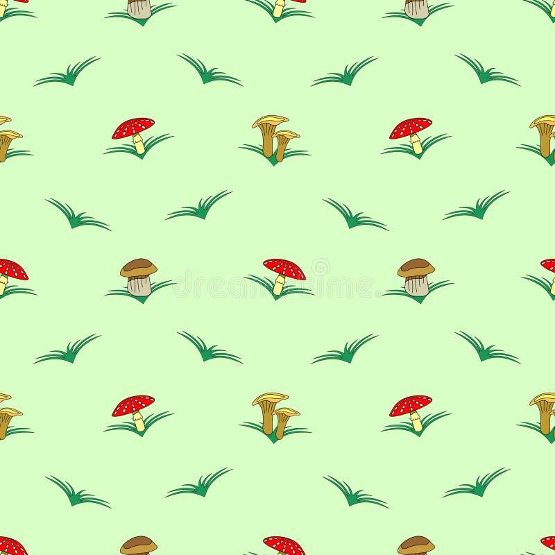 Sömlös vektormodell med grönsaker, symmetrisk bakgrund med champinjoner och gräs: flugsvamp, kantarell och porcinimush stock illustrationer