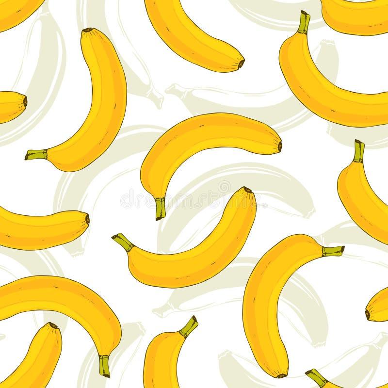 Sömlös vektormodell med gula bananer Bananfruktvektor som upprepar modellen Smakligt tryck för köktextil eller tygdesi royaltyfri illustrationer